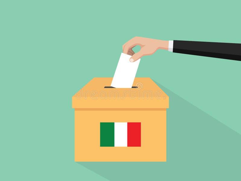 Η απεικόνιση έννοιας ψηφοφορίας εκλογής Itlay με το χέρι ψηφοφόρων ανθρώπων δίνει το ένθετο ψηφοφοριών στην εκλογή κιβωτίων με τη διανυσματική απεικόνιση