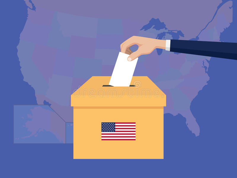 Η απεικόνιση έννοιας ψηφοφορίας Ηνωμένης ΗΠΑ Αμερική εκλογής με το χέρι ψηφοφόρων ανθρώπων δίνω το ένθετο ψηφοφοριών στην εκλογή  ελεύθερη απεικόνιση δικαιώματος