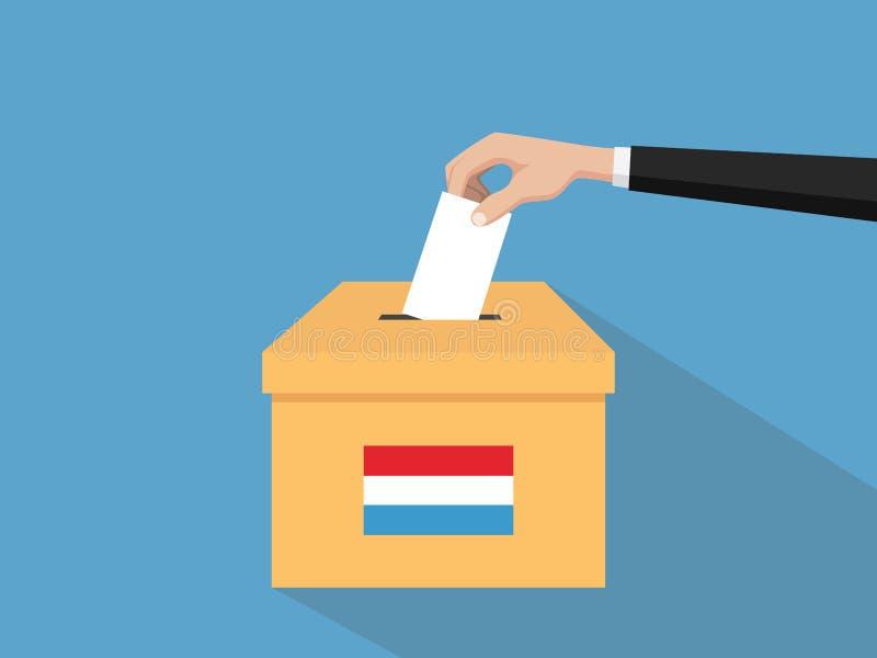 Η απεικόνιση έννοιας ψηφοφορίας λουξεμβούργιας εκλογής με το χέρι ψηφοφόρων ανθρώπων δίνει το ένθετο ψηφοφοριών στην εκλογή κιβωτ διανυσματική απεικόνιση