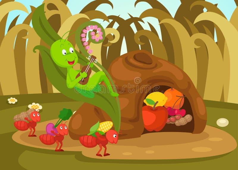 Η απεικόνιση απομόνωσε το μυρμήγκι και το grasshopper παραμύθι ελεύθερη απεικόνιση δικαιώματος