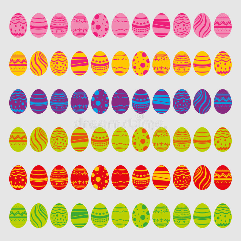η απεικόνιση αυγών Πάσχας ανασκόπησης απομόνωσε το καθορισμένο διανυσματικό λευκό Εικονίδια στο επίπεδο ύφος με τα φωτεινά χρώματ διανυσματική απεικόνιση