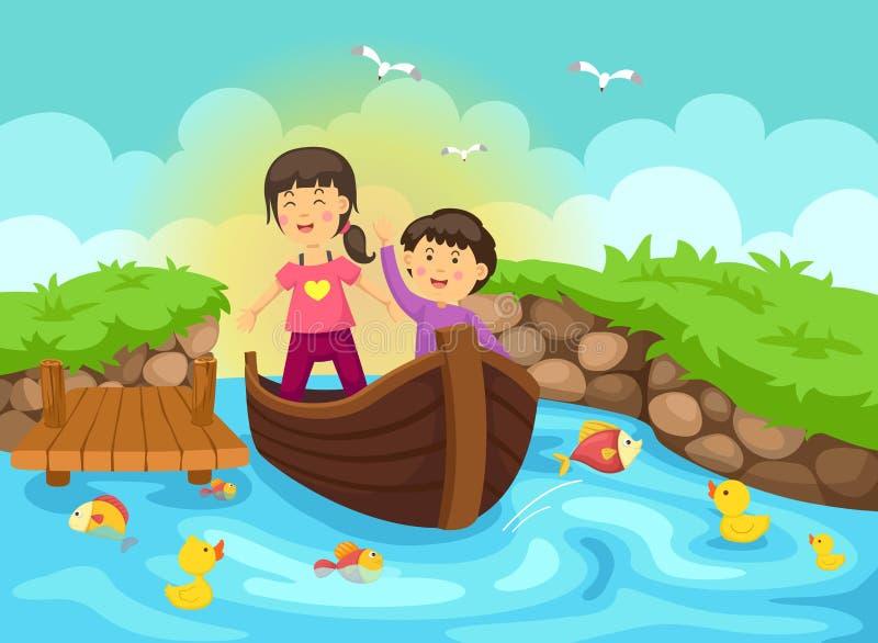 Η απεικόνιση ενός αγοριού και το κορίτσι πλέουν με μια βάρκα διανυσματική απεικόνιση