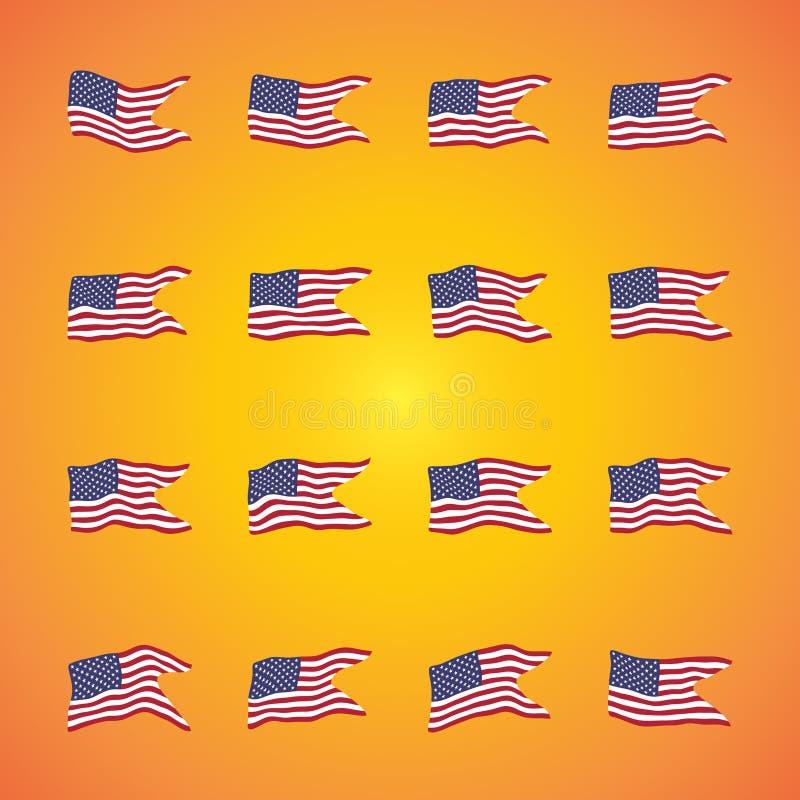 Η απεικόνιση ενός κυματισμού σημαιοστολίζει την καθορισμένη συλλογή των Ηνωμένων Πολιτειών της Αμερικής ανεξαρτησία ημέρας ανασκό απεικόνιση αποθεμάτων