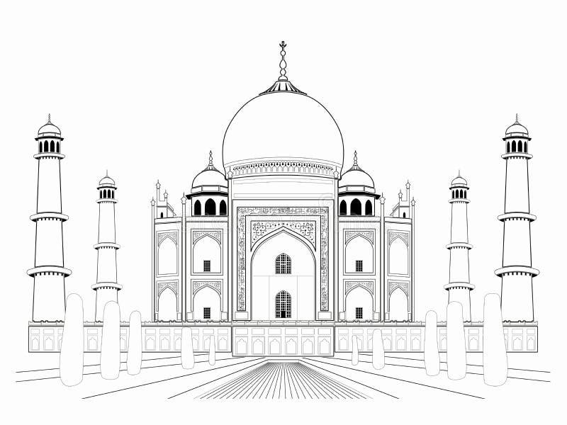 Η απεικόνιση ενός taj mahal, διάνυσμα σύρει διανυσματική απεικόνιση