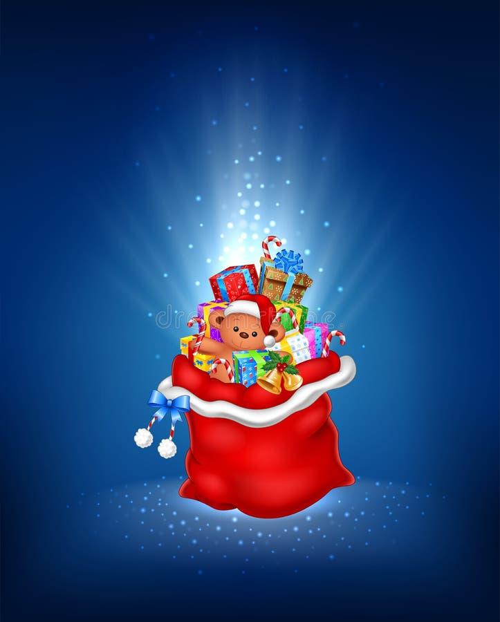 Η απεικόνιση κινούμενων σχεδίων του κόκκινου σάκου με περιέχει το δώρο σε ένα μπλε υπόβαθρο απεικόνιση αποθεμάτων