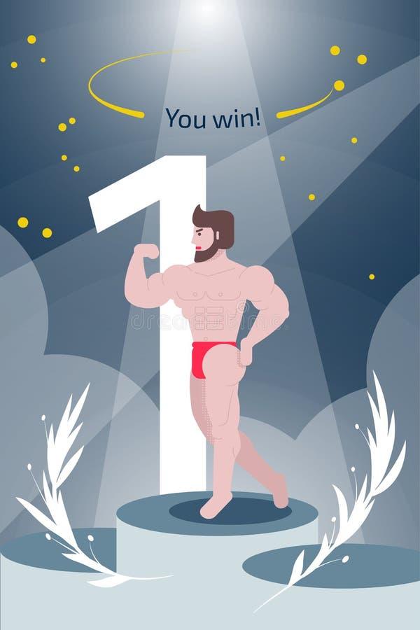 Η απεικόνιση με το bodybuilder και το κείμενο εσείς κερδίζουν Έμβλημα ιστοσ διανυσματική απεικόνιση