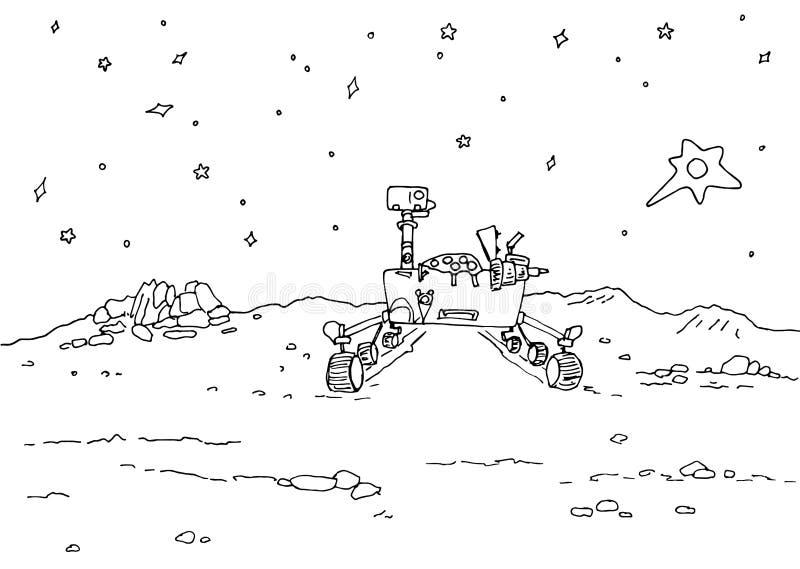 Η απεικόνιση περιγράμματος πλανών του Άρη - διαστημική αποίκιση, ένας πλάνης σε έναν απόμακρο πλανήτη με τους κρατήρες και τους β διανυσματική απεικόνιση