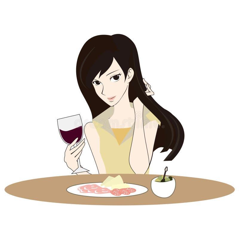 Η απεικόνιση της όμορφης γυναίκας συμπαθεί το κόκκινο κρασί στην ημέρα Valentins στοκ εικόνες με δικαίωμα ελεύθερης χρήσης