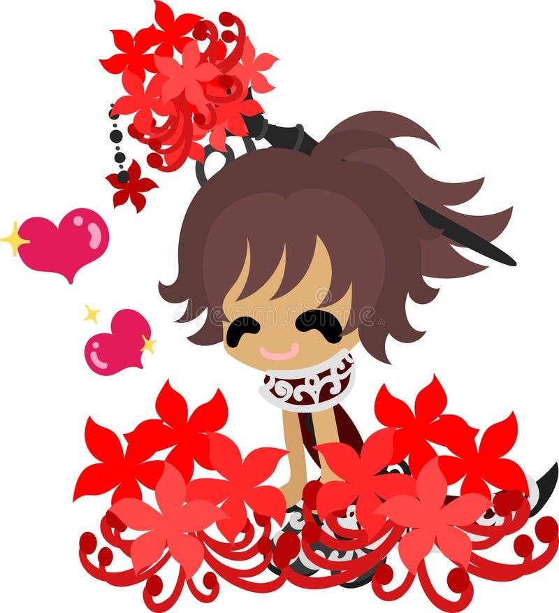Η απεικόνιση του κοριτσιού κρίνων αραχνών διανυσματική απεικόνιση