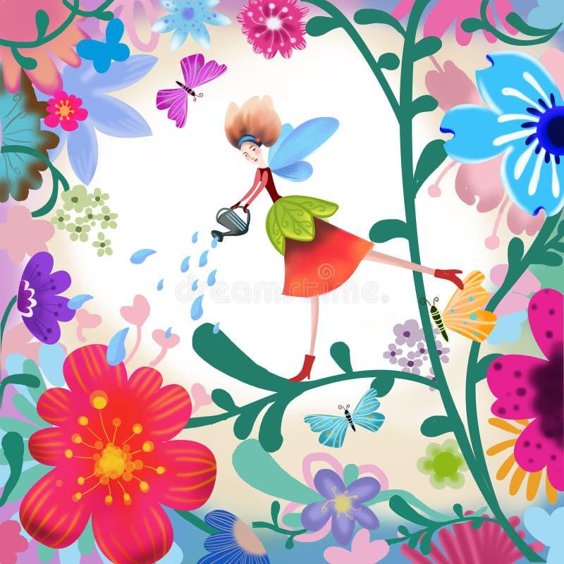 Η απεικόνιση του κόσμου της φαντασίας των παιδιών: Νεράιδα λουλουδιών διανυσματική απεικόνιση