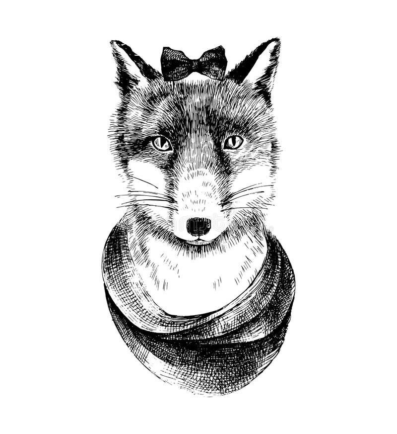 Η απεικόνιση του χεριού που σύρθηκε έντυσε επάνω την αλεπού απεικόνιση αποθεμάτων