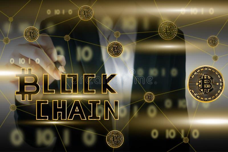Η απεικόνιση του χρυσού νομίσματος bitcoin με το υπόβαθρο γυναικών γραμμών και επιχειρήσεων blockchain στον κόσμο έννοιας συνδέει ελεύθερη απεικόνιση δικαιώματος