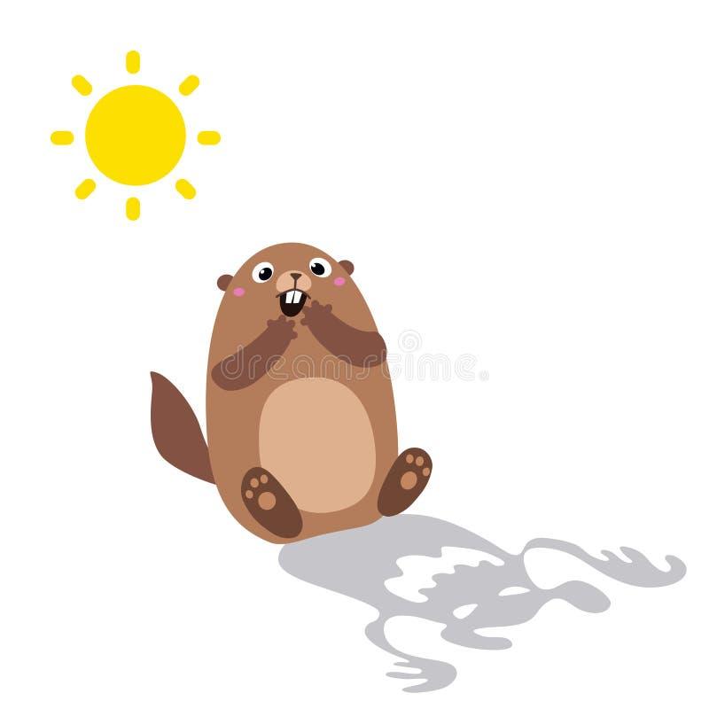 Η απεικόνιση του groundhog είδε τη σκιά του και που φόβισε επίπεδος διανυσματική απεικόνιση