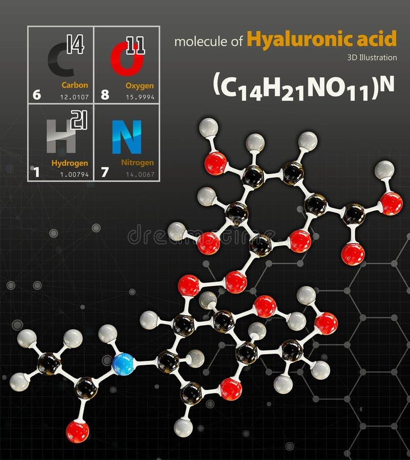 Η απεικόνιση του Hyaluronic όξινου μορίου απομόνωσε το μαύρο backgrou στοκ φωτογραφία