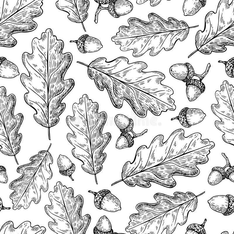 η απεικόνιση φθινοπώρου αφήνει στο πρότυπο το άνευ ραφής διάνυσμα Δρύινα φύλλο και βελανίδι δ ελεύθερη απεικόνιση δικαιώματος