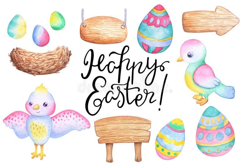 Η απεικόνιση watercolor Πάσχας έθεσε με το χρωματισμένο αυγό, το πουλί, την ξύλινη στάση και έναν χαριτωμένο χαρακτήρα birdie φωλ διανυσματική απεικόνιση