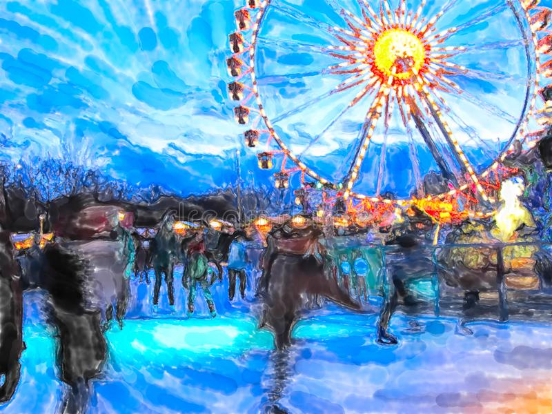 Η απεικόνιση Watercolor της έκθεσης Χριστουγέννων του Βερολίνου με τον αθλητισμό πατινάζ πάγου και τα ferris κυλούν στοκ εικόνα
