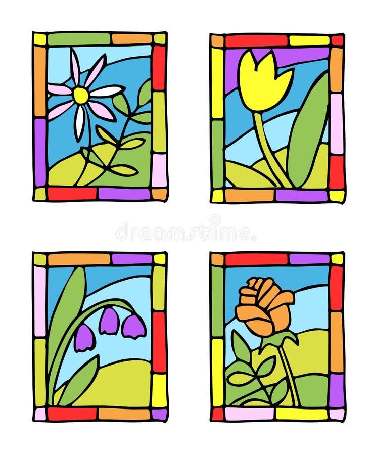 Download η απλή άνοιξη γυαλιού λουλουδιών λεκίασε ορισμένος Διανυσματική απεικόνιση - εικονογραφία από πράσινος, τυποποιημένος: 22799355