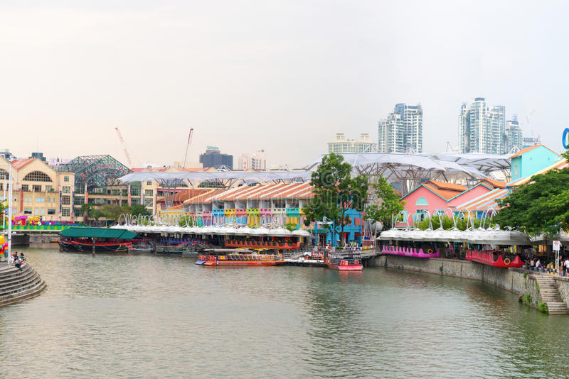 Η αποβάθρα του Κλαρκ είναι μια ιστορική αποβάθρα όχθεων ποταμού στη Σιγκαπούρη στοκ εικόνα