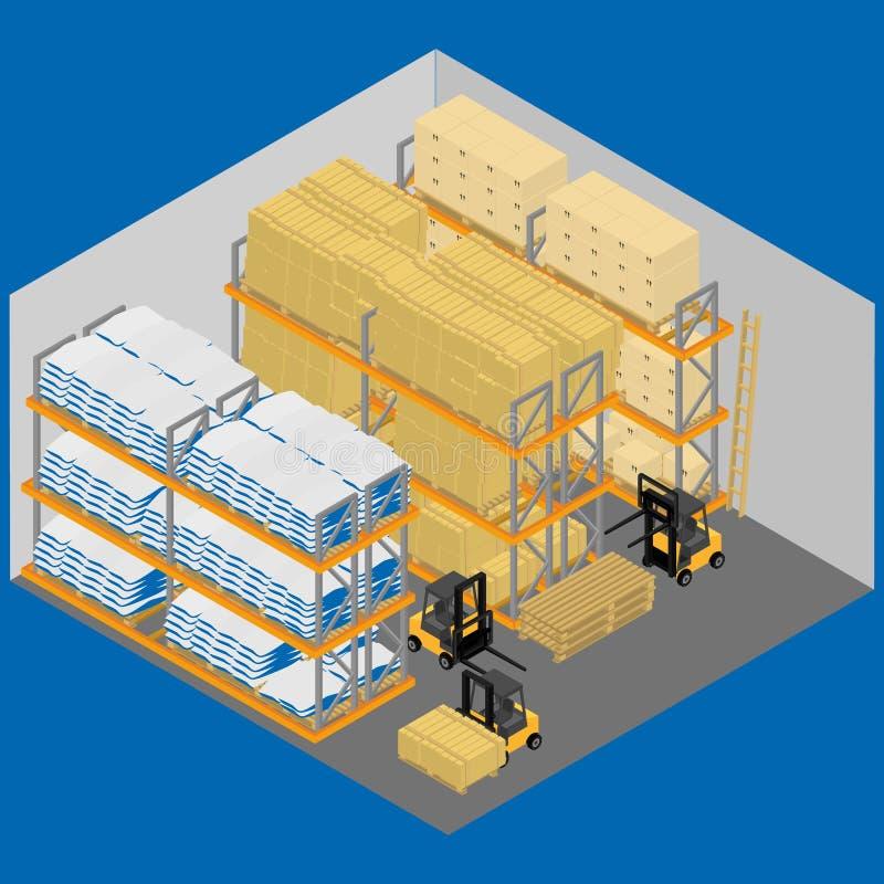 Η αποθήκη εμπορευμάτων μέσα διανυσματική απεικόνιση