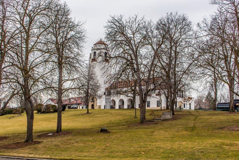 Η αποθήκη Boise είναι μια όμορφη ιστορική δομή ισπανικός-ύφους που χρησιμοποιείται από τα πάρκα Boise και το τμήμα αναψυχής στοκ εικόνα με δικαίωμα ελεύθερης χρήσης
