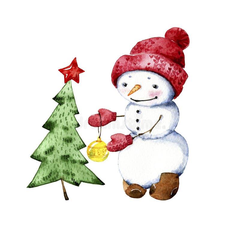 Η απομονωμένη απεικόνιση ενός χιονανθρώπου ντύνει επάνω ένα χριστουγεννιάτικο δέντρο διανυσματική απεικόνιση