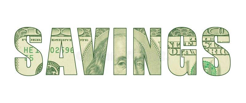 Η ΑΠΟΤΑΜΊΕΥΣΗ ` λέξης ` με το σχέδιο των χρημάτων διανυσματική απεικόνιση