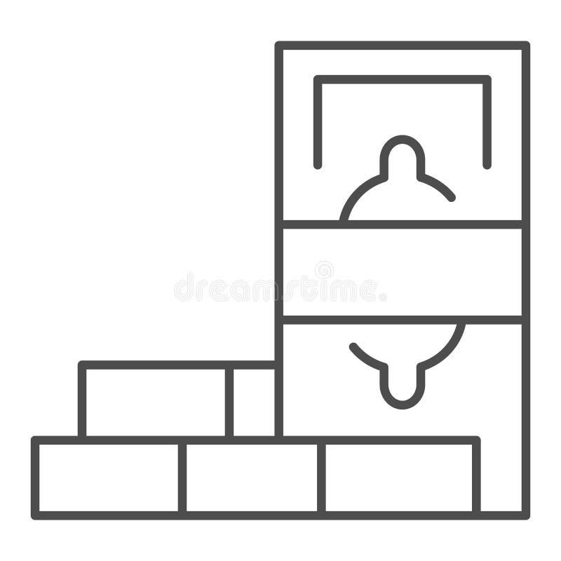 Η αποταμίευση νομίσματος λεπταίνει το εικονίδιο γραμμών Δολάριο και διανυσματική απεικόνιση τούβλων που απομονώνονται στο λευκό Ύ διανυσματική απεικόνιση