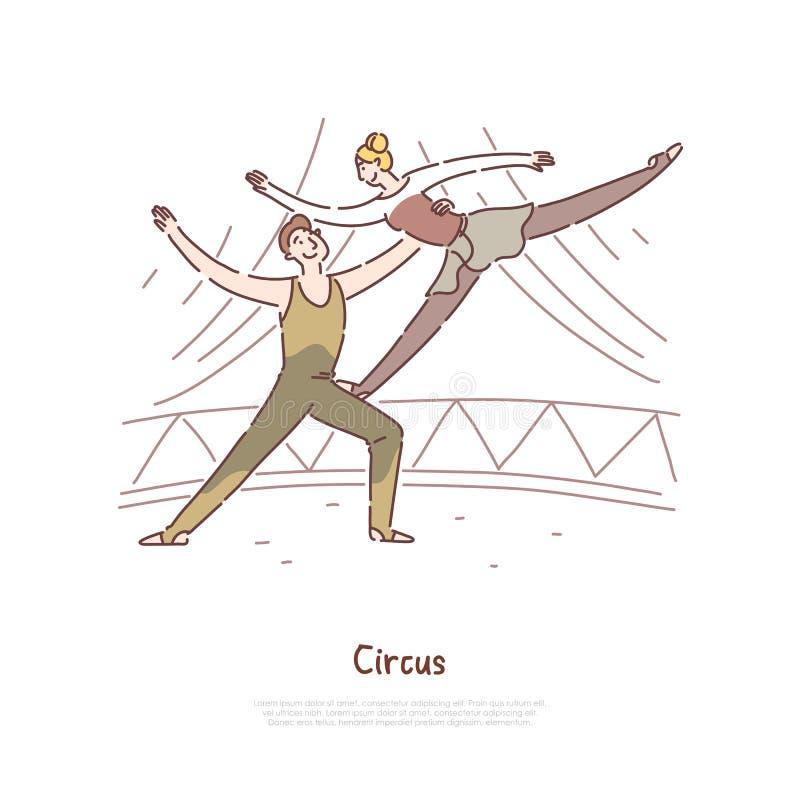 Η απόδοση ανδρών και γυναικών ακροβατών, τσίρκο παρουσιάζει, gymnasts που εκτελούν τα ισορροπώντας τεχνάσματα, πρότυπο εμβλημάτων απεικόνιση αποθεμάτων