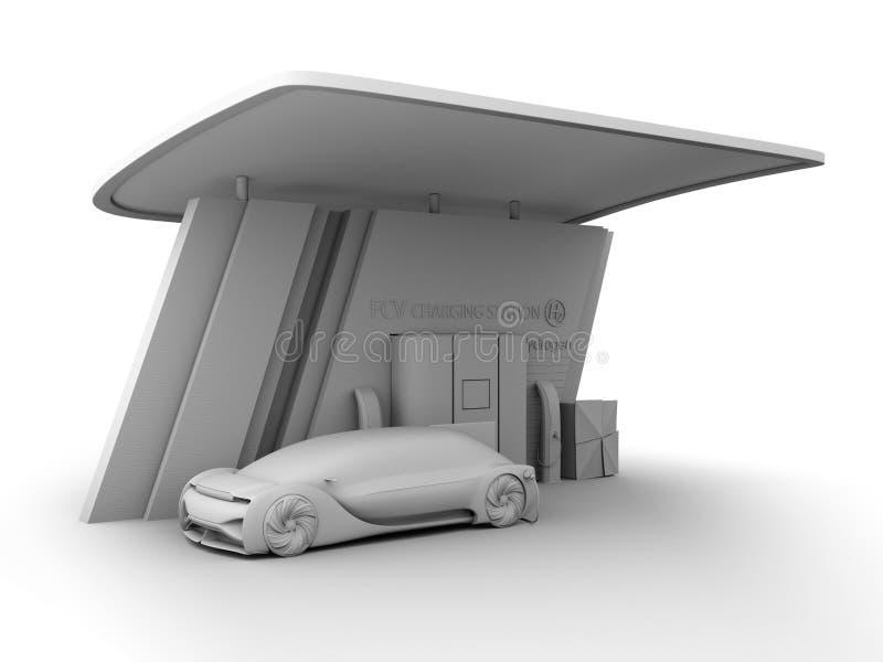 Η απόδοση αργίλου του κυττάρου καυσίμου τροφοδότησε το αυτόνομο γεμίζοντας αέριο αυτοκινήτων στο σταθμό υδρογόνου κυττάρων καυσίμ ελεύθερη απεικόνιση δικαιώματος