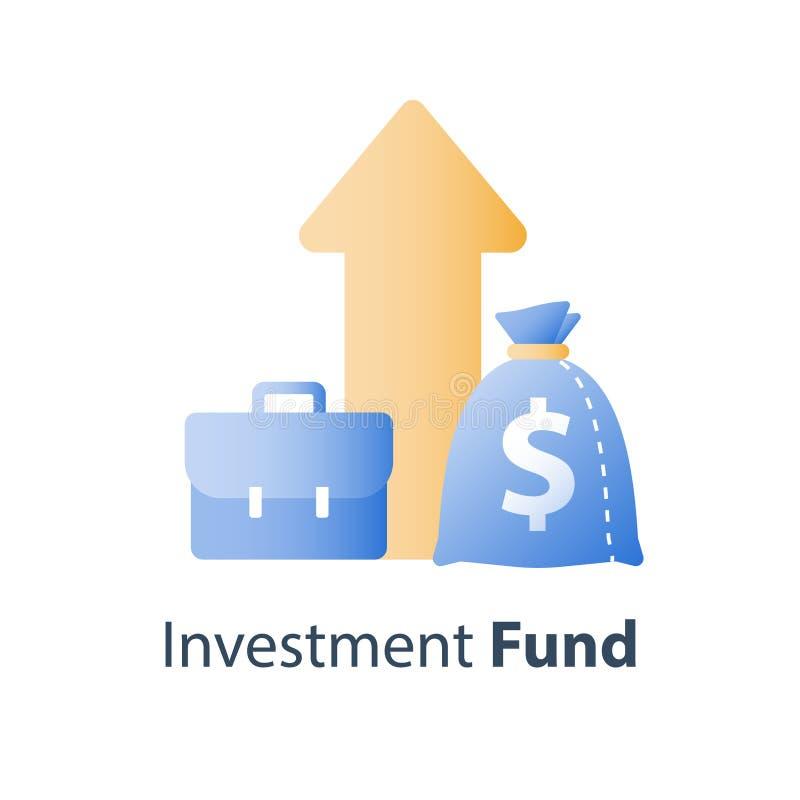 Η απόδοση της επένδυσης, οικονομική έκθεση αύξησης, διαχείριση κεφαλαίων, αύξηση εισοδήματος, επιτόκιο, κερδίζει τα χρήματα, στρα διανυσματική απεικόνιση