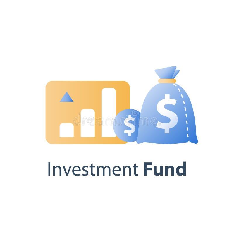Η απόδοση της επένδυσης, οικονομική έκθεση αύξησης, διαχείριση κεφαλαίων, αύξηση εισοδήματος, επιτόκιο, κερδίζει τα χρήματα, στρα ελεύθερη απεικόνιση δικαιώματος