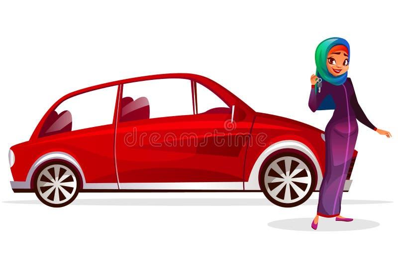Η αραβική γυναίκα αγοράζει τη διανυσματική απεικόνιση αυτοκινήτων απεικόνιση αποθεμάτων
