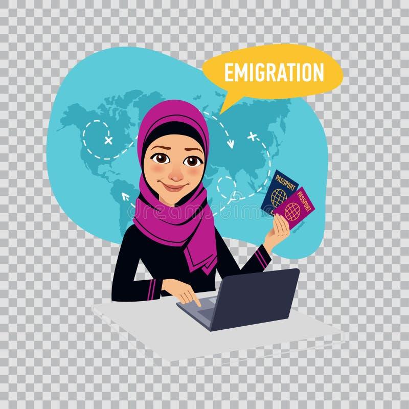 Η αραβική γυναίκα γυναικών καταρτίζει τα έγγραφα σχετικά με την αποδημία Έννοια αποδημίας Απεικόνιση στο διαφανές υπόβαθρο διανυσματική απεικόνιση