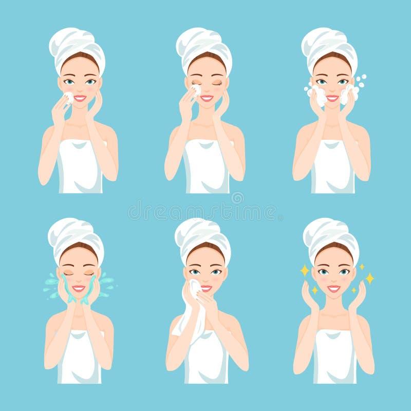 Η αρκετά νέα γυναίκα με μια πετσέτα γύρω από το κεφάλι της και το σώμα αφαιρούν τη σύνθεση, καθαρή, πλένουν και φροντίζουν το πρό απεικόνιση αποθεμάτων