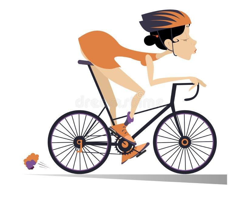 Η αρκετά νέα γυναίκα οδηγά ένα ποδήλατο που απομονώνεται ελεύθερη απεικόνιση δικαιώματος