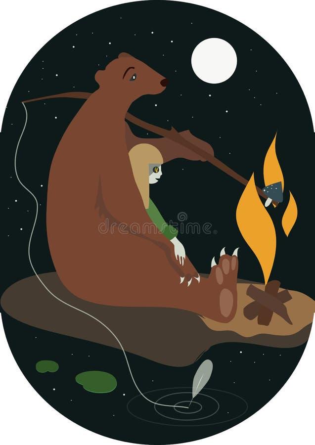 Η αρκούδα και το κορίτσι με την επίπεδη διανυσματική απεικόνιση πυρών προσκόπων ελεύθερη απεικόνιση δικαιώματος
