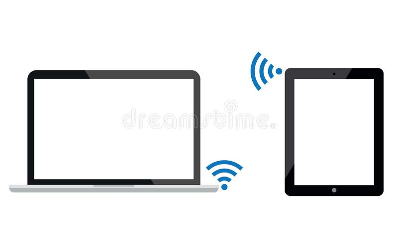 Η αρρενωπή ταμπλέτα Ipad συνδέεται με το lap-top με την WI-Fi διανυσματική απεικόνιση