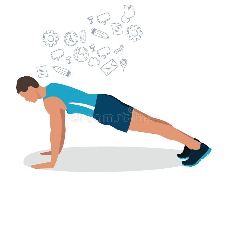 Η αρσενική ώθηση ατόμων επάνω γυμναστικής workout άσκησης απεικόνισης στην επίπεδη κατάρτιση ικανότητας σχεδίων διανυσματική θέτε διανυσματική απεικόνιση
