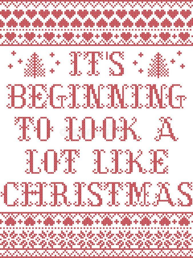 Η αρχή της για να φανεί πολλή συμπαθεί το Σκανδιναβικό άνευ ραφής σχέδιο Χριστουγέννων που εμπνέεται μέχρι το σκανδιναβικό εορτασ απεικόνιση αποθεμάτων