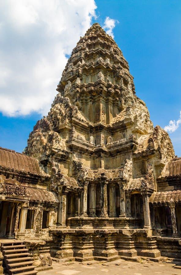 Η αρχαία οικοδόμηση του ναού Angkor Wat σε Angkor σύνθετο, Siem συγκεντρώνει, Καμπότζη στοκ εικόνες