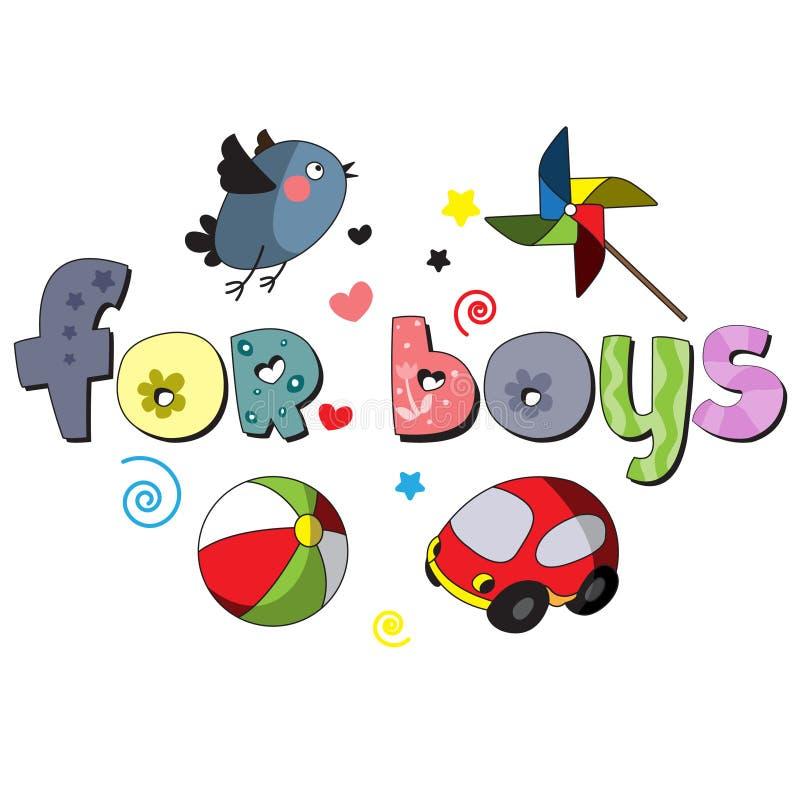 Η αρχική ορθογραφία της φράσης για τα αγόρια διανυσματική απεικόνιση