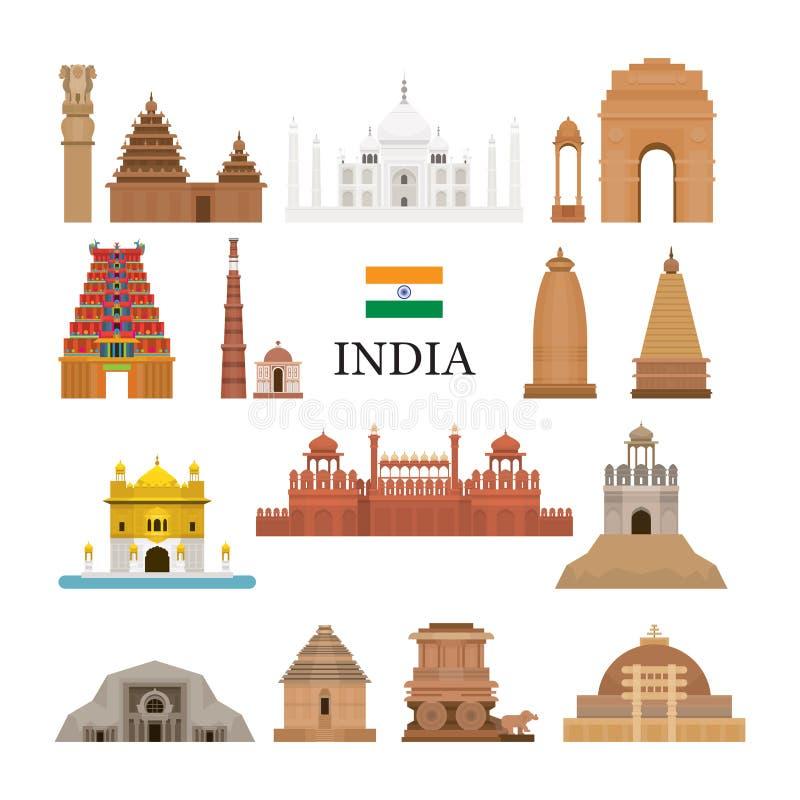 Η αρχιτεκτονική της Ινδίας αντιτίθεται εικονίδια καθορισμένα στοκ εικόνα
