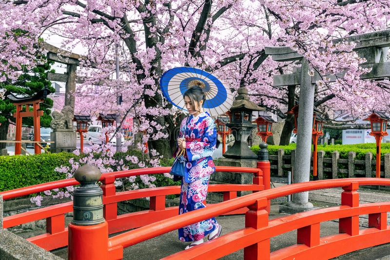 Η ασιατική γυναίκα που φορούν το ιαπωνικό παραδοσιακό κιμονό και το κεράσι ανθίζουν την άνοιξη, ναός του Κιότο στην Ιαπωνία στοκ φωτογραφία με δικαίωμα ελεύθερης χρήσης