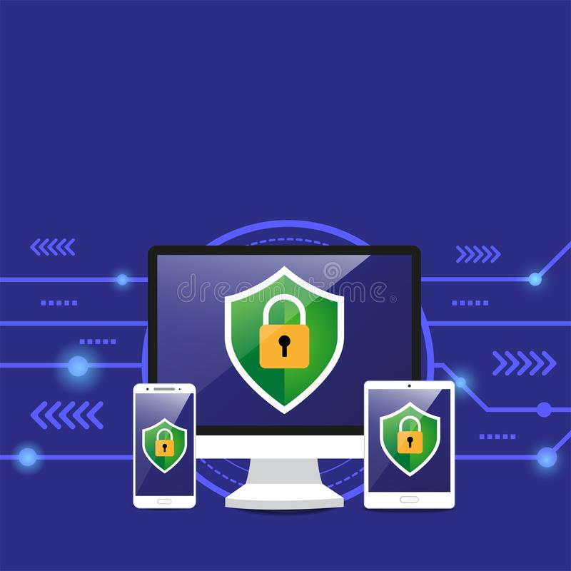 η ασπίδα ασφάλειας προστατεύει την ταμπλέτα υπολογιστών και το έξυπνο τηλέφωνο διανυσματική απεικόνιση