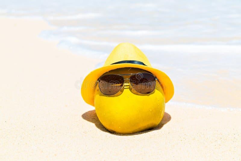 Η αστεία καρύδα στα γυαλιά ηλίου και το κίτρινο καπέλο βρίσκεται σε ένα αμμώδες tropi στοκ φωτογραφίες