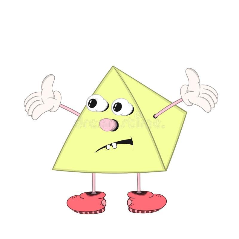 Η αστεία πυραμίδα κινούμενων σχεδίων με τα μάτια, τα όπλα και τα πόδια στα παπούτσια ρίχνει αναστατωμένα επάνω στα χέρια του διανυσματική απεικόνιση