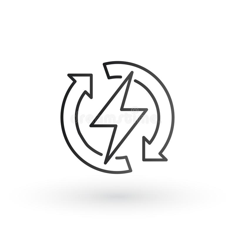 Η αστραπή δύναμης με τον κύκλο αναζωογονεί το εικονίδιο λογότυπων βελών Διανυσματικό ηλεκτρικό γρήγορο σύμβολο μπουλονιών βροντής απεικόνιση αποθεμάτων