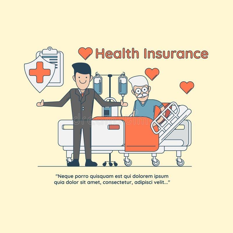 Η ασφάλεια υγείας προστατεύει την έννοια ασφάλειας υγείας συμβόλων ηλικιωμένων ανθρώπων διανυσματική απεικόνιση