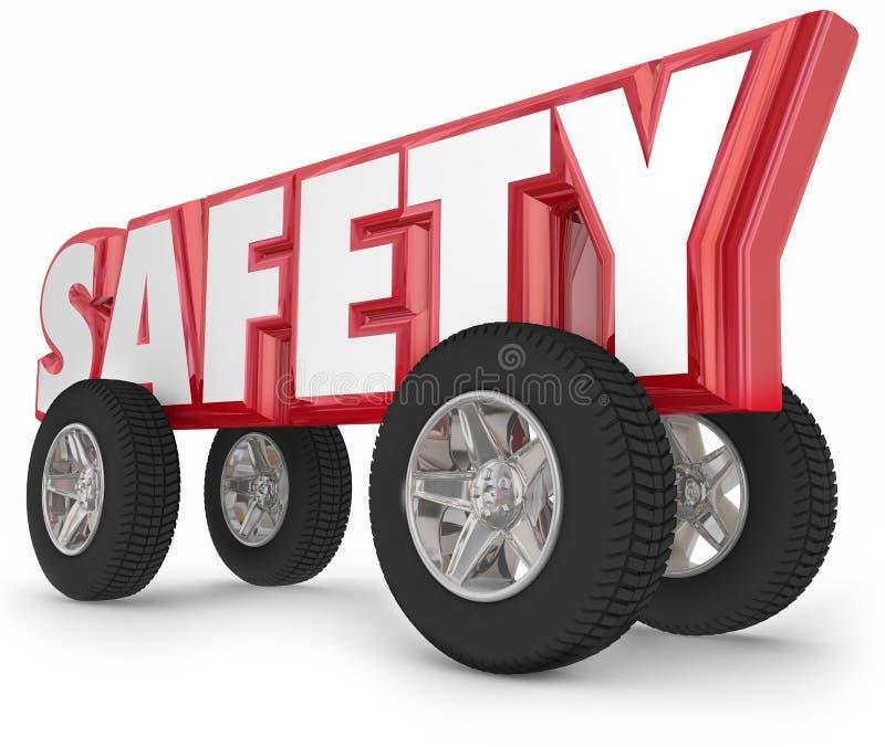 Η ασφάλεια κυλά τις ρόδες που το ασφαλές ταξίδι οδικών κανόνων διανυσματική απεικόνιση